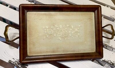 Wooden Serving Tray Brass Handles Under Glass Vintage Hanky
