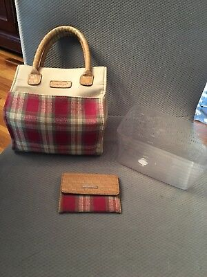 Longaberger Small Tote Shopper Lunch Bag Homestead Orchard Park Red Tan Plaid