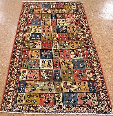 "PERSIAN SAROUK Hand Knotted Wool BIRDS CORAL BLUES GREENS Oriental Rug 3'5"" x 7'"