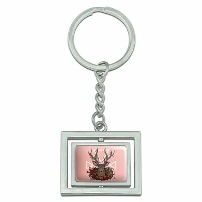 Deer Head Floral Spinning Rectangle Chrome Plated Metal Keychain Key Chain Ring