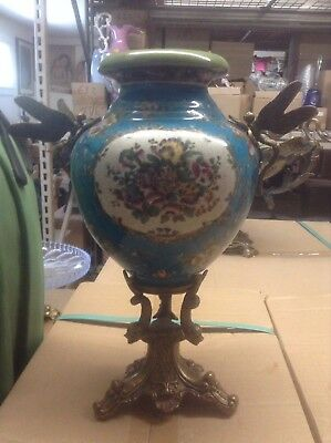 Sevres Porcelain - Blue Vase French w/ Gilt Bronze Ormolu Dragonfly Handles