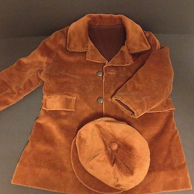 Vintage Coat & Hat Child's Corduroy Wide Wale Brown Toddler Millicent's 2t 3t