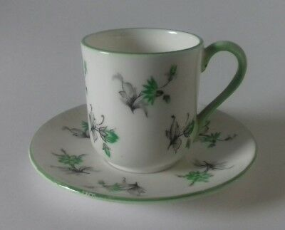 Shelley Miniature Cup & Saucer Duo Charm Green Pattern 13862