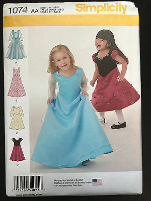 1074 Simplicity Toddlers Girls Princess Special Occasion Dress Pattern UC 1/2-3