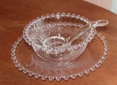 Imperial Glass Candlewick With Wheat Etching 3 Piece Mayo Set Excellent!