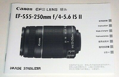 CANON 55-250mm f/4-5.6 IS II Original Owners Manual in Excellent Condition!!