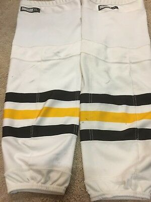 2016-17 PITTSBURGH PENGUINS White Yellow XL Reebok NHL Pro Game Used Socks