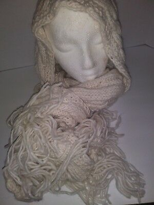 Cable Knit Hood Winter Scarf, Cream