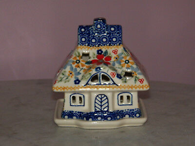 Collectible Polish Pottery Illuminated Cottage House Tea Light! Rembrandt!