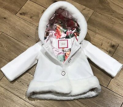 Baby Girls Ted Baker Winter Fur Style Coat In White Size 6-9 Months
