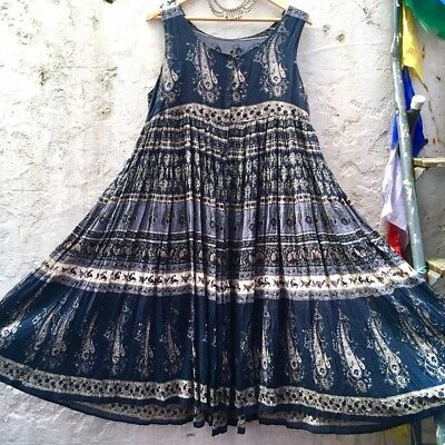 Ethnic INDIAN 70s Block Printed COTTON Smock Midi Dress Sz M/L 12 14 16 Boho Vtg