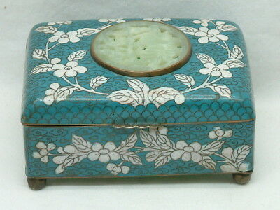 Colorful Antique Chinese Cloisonne Box With Carved Jade Or Hardstone
