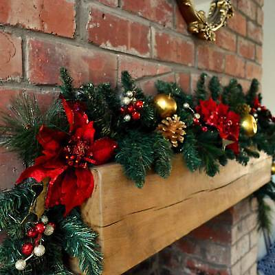 180cm (6ft) Deluxe Red and Gold Poinsettia Christmas Garland Decoration