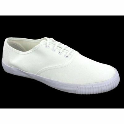 Boys Girls Kids Junior 4 Eyelet Lace-Up PE Casual School Plimsolls Shoes White