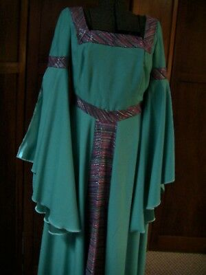 Seafoam Green Medieval Renaissance Dress Costume with Xtra Overlay Skirt