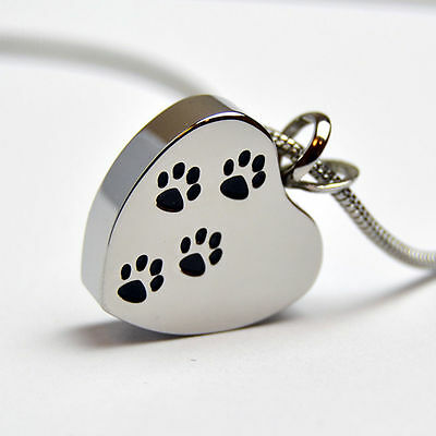 Pet Cremation Pendant Personalised Engraved Jewellery, Paws on Heart