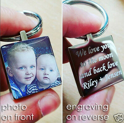 Metal Keyring Personalised  with Photo and Engraving Valentine's day Gift