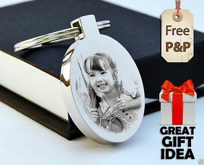 Metal Oval Keyring Personalised PHOTO ENGRAVED FREE P&P Valentine's day Gift