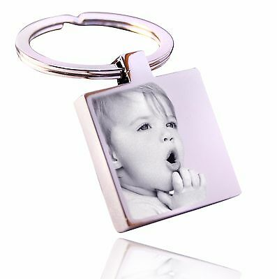 Personalised Square Steel Keyring Photo Engraved, a great Valentine's day gift