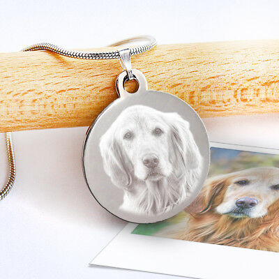 Pet Memorial Necklace | Photo and Message Engraved Round Pendant