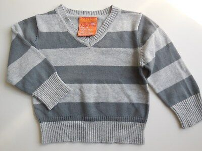 Baby Boy Grey Striped Jumper Sweater Top Cotton Size 00 Fits 3-6M *new
