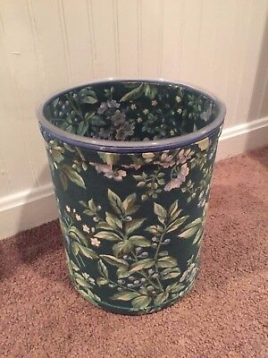 Laura Ashley Green Bramble Berries Fabric covered Wastebasket~Good Cond.