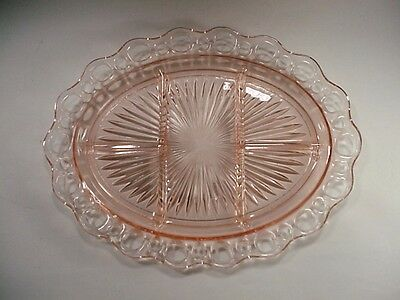 """Depression Glass:  Old Colony / Open Lace Pattern in Pink, Divided Dish 12-5/8"""""""
