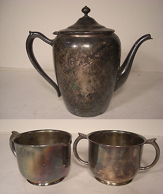 Vintage Silver Plate Tea Pot and Cream and Sugar Set