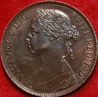 Uncirculated 1891 Great Britain Penny Foreign Coin Free S/H