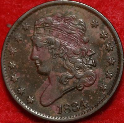 1834 Philadelphia Mint Copper Classic Head Half Cent Free Shipping