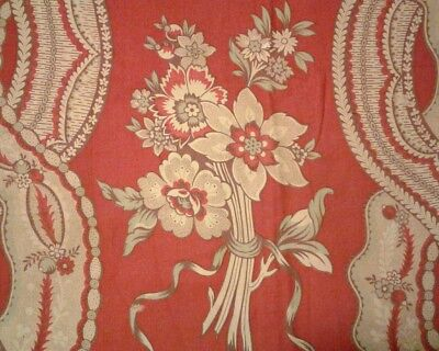 Antique French Floral Picotage Toile Panel Cotton/Linen Red Duck Egg Blue