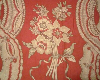 Antique French c1920 Floral Ribbons Picotage Toile Fabric Cotton/Linen Red Blue