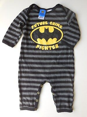 Baby Boy Striped Batman Coverall Size 00 Fits 3-6M *New