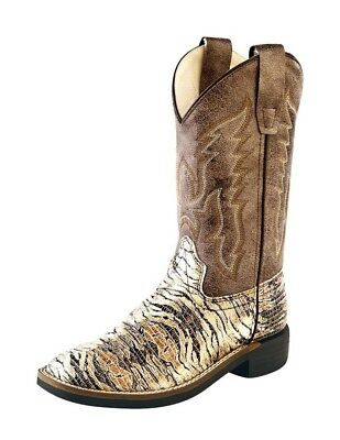 Old West Cowboy Boots Boys Girls Kids Lizard Square Chocolate VB9117