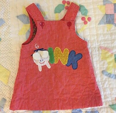 Vintage Pig Farm Quilted Jumper Dress Pinafore Girls Baby 2t 3t Toddler Red 3