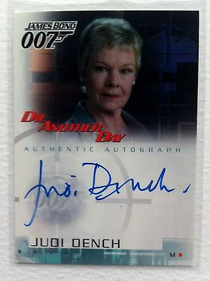 """James Bond Die Another Day - A2 Judi Dench """"M"""" Autograph Card"""