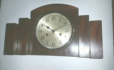 Beautiful Art Deco Mantel Clock, 8 Day,  Rosewood case, working/chiming with key