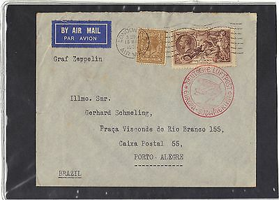 Gb Zeppelin Cover 1935  - Airship Lz 127 From London To Porto,  Brazil