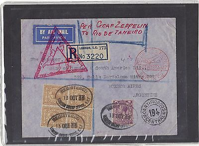 Gb Zeppelin Cover 1933 - Airship Lz 127 From London To Buenos Aires, Argentina