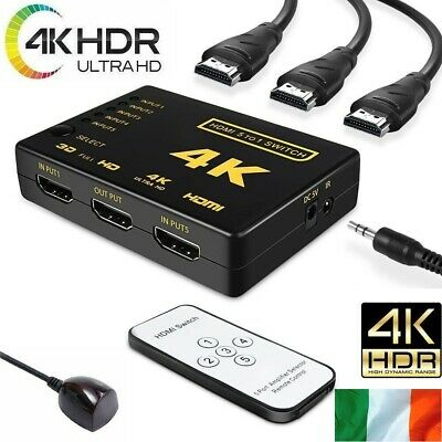 HDMI 5 Port Selector Switcher Splitter Switch Hub with Remote 1080p for HDTV PS3