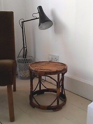 Antique Vintage Retro Bamboo TABLE Tortoise Shell Boho Tiki Wicker