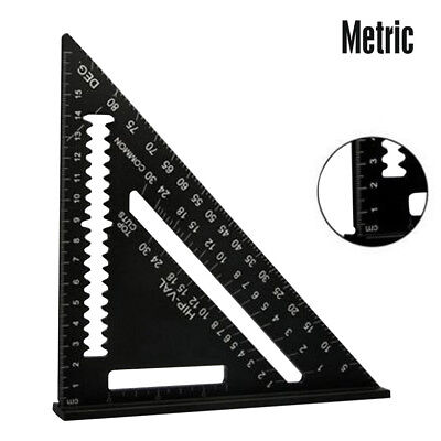 7'' Aluminum Alloy Black Triangle Woodwork Ruler Angle Protractor Gauge Tool