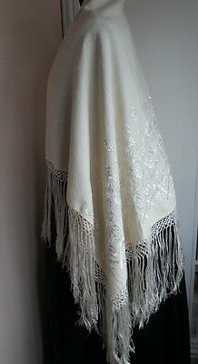 Antique Ivory Fine Wool Embroidered Silk Fringed Christening Shawl