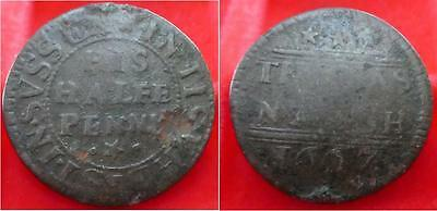Scarce Sussex Ticehurst Thomas Nash 1667 1/2d  BW175 Withers value £105 in Fine
