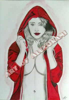 Pin Up, Akt Zeichnung, Drawing nude art, Red Riding Hood,  signiert, signed