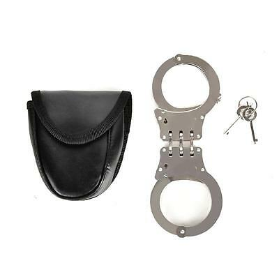 Detective's Silver Heavy Duty Double Lock 3 Hinge Handcuffs Army Military Police