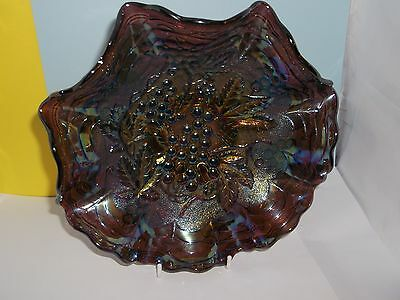 "A Gorgeous Dark Coloured 8"" CARNIVAL GLASS Bowl"
