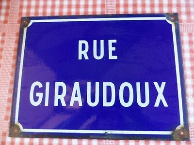 ORIGINAL FRENCH VINTAGE ENAMEL ROAD STREET SIGN Rue Giraudoux French playwright