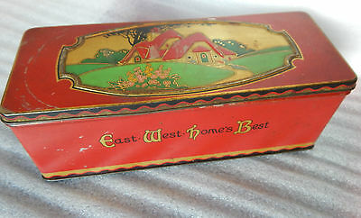 Vintage Art Deco CWS Biscuits East West home is best tin 24 cm x9cm