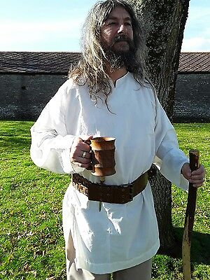 Medieval Style Tunic Top,  Re-enactment Viking, LARP, EXTRA LARGE - Off white